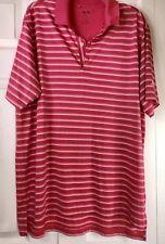 Adidas Golf Clima-Lite Men'S Pink & White Stripes Short Sleeve Polo Shirt Xl