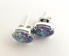 Australian Lightning Ridge Opal Triplet Stud Earrings Sterling Silver w Cert