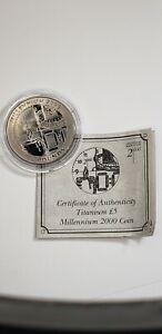 UNC World's First Titanium Coin 1999 Gibraltar 5 Pounds Millennium