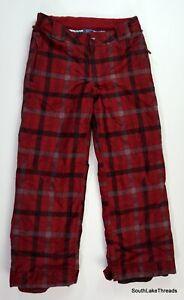 Burton Snowboarding Pants White Collection Boys XL US 18 Red Plaid Rare