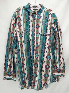 Panhandle Slim Shirt Southwestern Geometric Print Multicolor Mens Size 18 35/36
