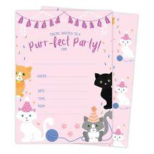 Cats Kitten Happy Birthday Invitations Invite 25ct w/ Envelopes + Seal Party