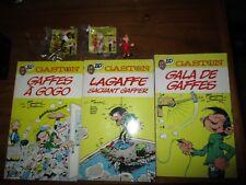 Spirou-Lot 3bd Gaston Lagaffe(1,2,11)+anciennes figurines des années 90