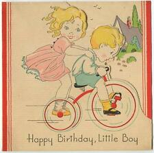 VINTAGE WOODBLOCK BLONDE HAIR BLUE EYES BICYCLE HOUSE GARDEN BDAY CARD ART PRINT