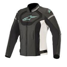 Alpinestars Stella Jaws V3 Ladies Leather Motorcycle Jckt Black White Teal  UK 6