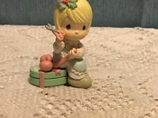 Precious Moments Christmas Ornament Girl wrapping present 1995 Plastic