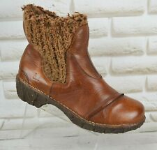 EL NATURALISTA Womens Brown Leather Ankle Slip On Boots Shoes Size 5 UK 38 EU
