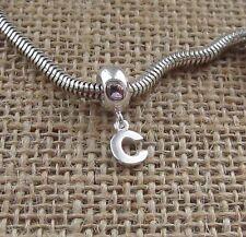 Ciondolo lettera (c) Argento Sterling Hanger Bead Fits BRACCIALETTO Confezione regalo gratuito