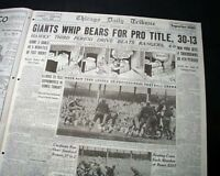 """SNEAKERS GAME"" New York Giants NFL Football CHAMPS Chicago Bears 1934 Newspaper"