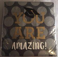 Graduation Day 40 Paper Napkins Gray 'YOU ARE AMAZING' w/ Caps & Dots - NIP