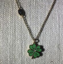 Juicy Couture Clover Wish Necklace - Shamrock Adjustable Necklace with Gemstone