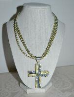 Preloved JAY KING Peridot Biwa Pearl Sterling Cross Pendant Green Pearl Necklace