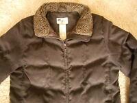 Women's LL Bean Brown Goose Down Puffer Knee Length Winter Coat no hood