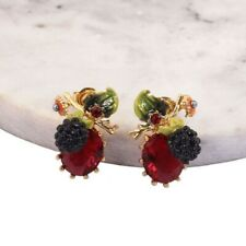 Beautiful Vintage Style Enamel Crystal Rhinestone Flower Grape Stud Earrings