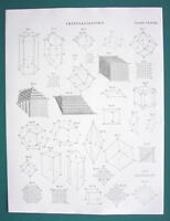 CRYSTALLIZATION Crystals Formation Theory - c. 1835 2 (Two) Fine Quality Prints