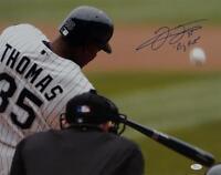Frank Thomas Big Hurt Signed White Sox 16x20 Swinging Up Close Photo- JSA W Auth