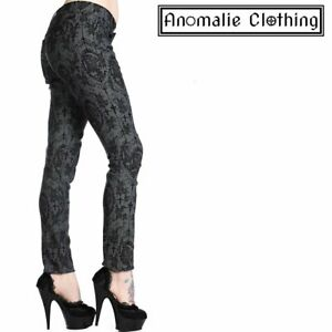 Banned Apparel Grey and Black Cross Cameo Skinny Leg Trousers - Victorian Goth