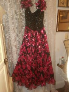 MIKE  BENET 1980'  BALL GOWN  PROM  BLACK  SEQUIN  TOP FULL FLORAL  SKIRT  10