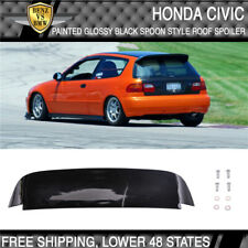 92-95 Civic EG EH Duckbill 3Dr Spoon Style ABS Roof Spoiler Painted Glossy Black
