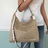 NEW! COACH Khaki Signature White Leather Hobo Tote Shoulder Crossbody Bag Purse