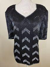 Vintage Frank Usher Black 100% Silk Silver Sequin Beaded Top Size L 14