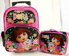"Dora The Explorer 16"" Large Rolling Backpack With Lunch Bag 2 Pc Set -Black Pink"