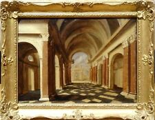 17th Century Dutch Old Master Church Cathedral Architectural Interior Painting