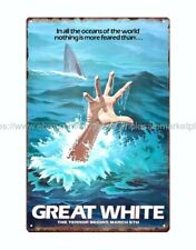 Great White horror sci fi movie poster metal tin sign old your home