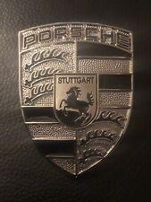PORSCHE FRONT BONNET BOOT CREST BADGE EMBLEM NEW SILVER + BLACK