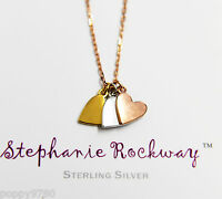 Rose Yellow White Gold Plated Silver Three Heart Pendant Necklace Rose Chain