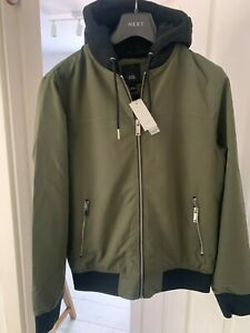 RIVER ISLAND MEN'S JERSEY HOODED BOMBER JACKETS IN KHAKI SIZE S RRP £45
