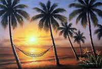 Hawaii Sunset Beach Bird Of Paradise Flower Palms Hammock 24X36 Oil Painting