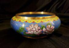 Vintage Chinese Cloisonne Trinket Dish - Pink Flower on White Bowl