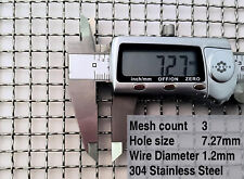 Woven Wire, 3 Mesh, 7mm hole, 1.2mm wire, 304 Stainless Steel (Guard, BBQ grill)