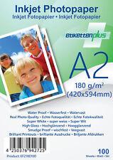100 Blatt Fotopapier Fotokarten A2 180g/m² weiß glänzend glossy Photopapier