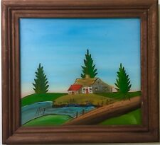 Original Vintage 1950s Antique REVERSE GLASS PAINTING Landscape Folk Art SIGNED