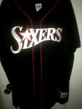 Rare Vintage Majestic SIXERS Baseball Style Jersey Blk Button Up XL