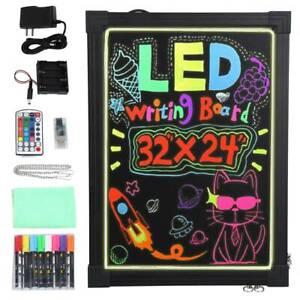 LED Writing Board Illuminated LED Neon Sign Message Menu Writing Board W/ Remote