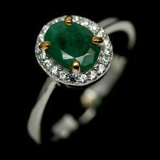 TOP EMERALD RING: Natürliche Grün Smaragd und Zirkonia Silberring Vergoldet R206