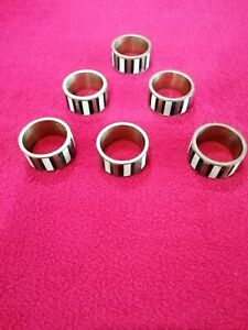 Vintage Six Napkin Rings inlaid with Mother of Pearl & Black Semi Precious Stone