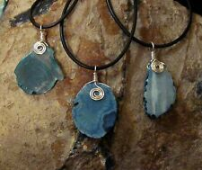 One Drilled Blue Agate Slice Pendant (Dyed) w/ Wire Wrapped Bail & Rubber Cord
