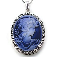 White Blue Cameo Pendant Necklace Charm Antique Silver Brass Lady Oval Women m1