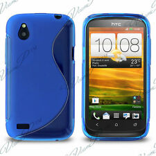CASE COVER TPU S SILICONE GEL BLUE + FILM FOR HTC DESIRE X