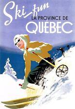Art Poster Ski Fun Quebec Travel   Print