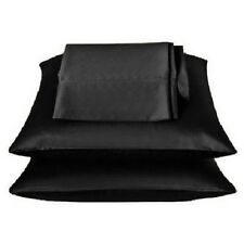 2 Pieces of 350TC Solid Black Soft Silk~y Satin Pillow Case Queen/Full Size