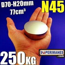 Disco Ø 70 mm, altura 20 mm. N52. Fuerza 270 kg. Imanes de neodimio.