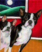 11X14 BOSTON TERRIER Dog Art PRINT of Painting by VERN