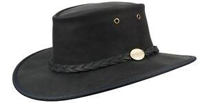 Barmah Foldaway Bronco Cowhide Leather Hat - Black