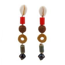 Stone Bead Pendant Shell Statement Drop Dangle Earrings for Women Ball Red Resin