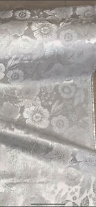 """7 METERS SILVER/WHITE SHINY METALLIC FLORAL BROCADE FABRIC 44"""" WIDE"""